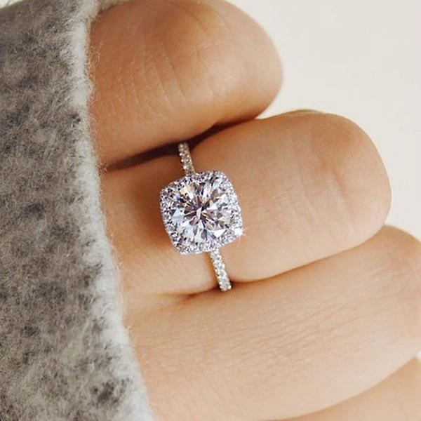 FAMSHIN Klassische Luxus Zirkon Kristall Ring Frauen Silber Farbe Charme Mode Hochzeit Ringe Verlobungsringe Schmuck Geschenk 2018