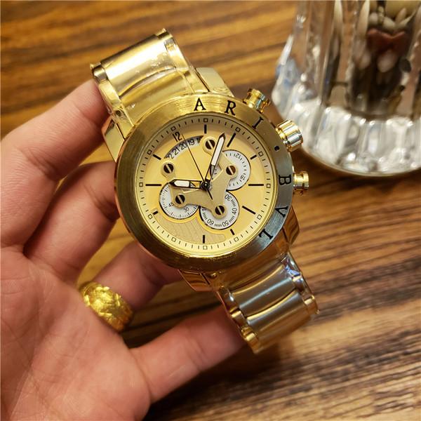 Orologi da uomo di marca Top Lusso SOTIRIO tutti in acciaio inox cronografo al quarzo orologio quadrante funziona Orologi impermeabili di alta qualità del progettista