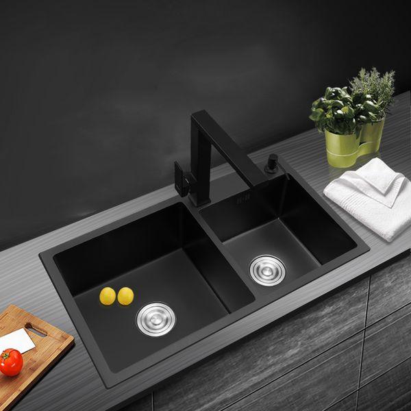 best selling black kitchen sink double groove Handmade 304 stainless steel seamless welding sinks kitchen vegetable washing basin black sink