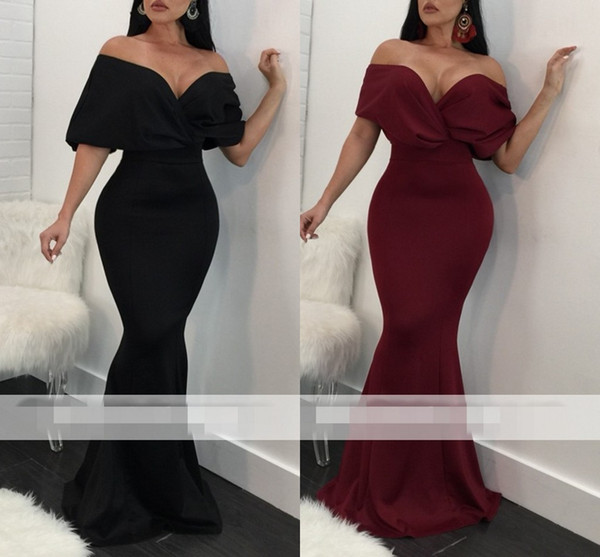 Simple Black Off-The-Shoulder Evening Dresses Draped Backless Bodycon Banquet Party Maxi Dresses Formal Occasion Party Dresses Cheap