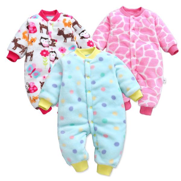 Детские комбинезоны с длинным рукавом Bebe Одежда для новорожденных Толстая теплая осень-зима Новорожденная одежда Onesie Девушки наряды Комбинезоны MX190720