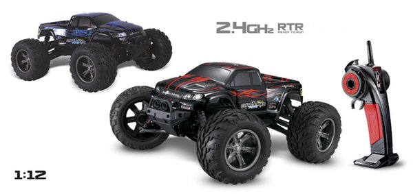 1pcs/lot 40kmh+ New 1/12 scale Electric rc truck 2.4Ghz 2WD high speed remote controlled car all included ready to run