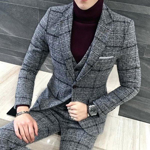 Mens Suits With Pants Black Grey Plaid Tuxedo Formal Slim Fit Men Suits Prom Business Casual Custom Pattern Tweed Blazer 3Pieces