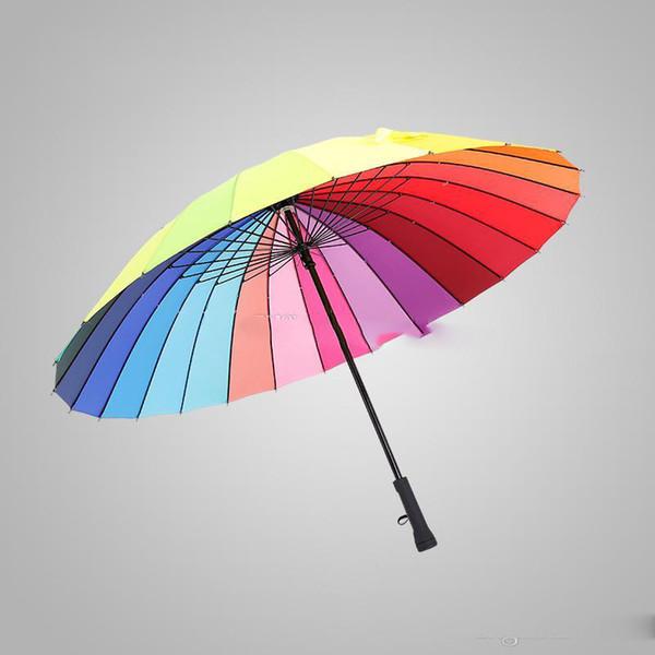 Gökkuşağı Lüks Şemsiye Uzun Sap 24 K Düz Rüzgar Geçirmez Renkli Pongee Şemsiye Yetişkin Güneşli Yağmurlu Şemsiye Şemsiye