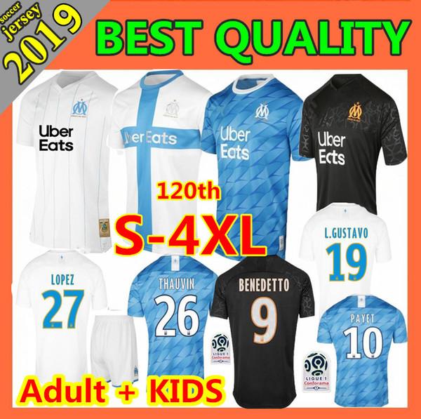 hijos adultos 2019 Olympique de Marsella fútbol jersey 120 19 20 OM Marsella Payet L.GUSTAVO THAUVIN BENEDETTO camisetas de fútbol