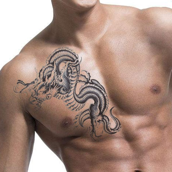 Unisex Donna Uomo 3D Black Dragon rimovibile impermeabile tatuaggio temporaneo braccio gamba Body Art Sticker Tool