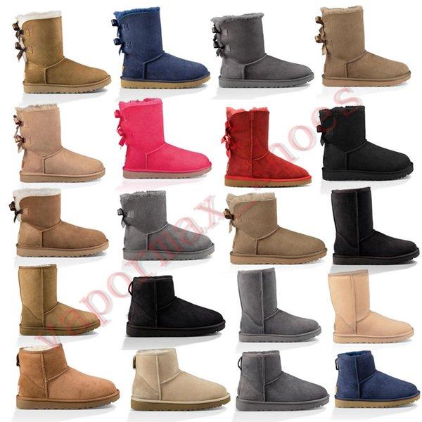 New Austrália botas Mulheres clássico botas de neve Ankle arco curto Fur Sapatinho de Inverno Black Woman Moda Castanha For Shoes Tamanho 36-41