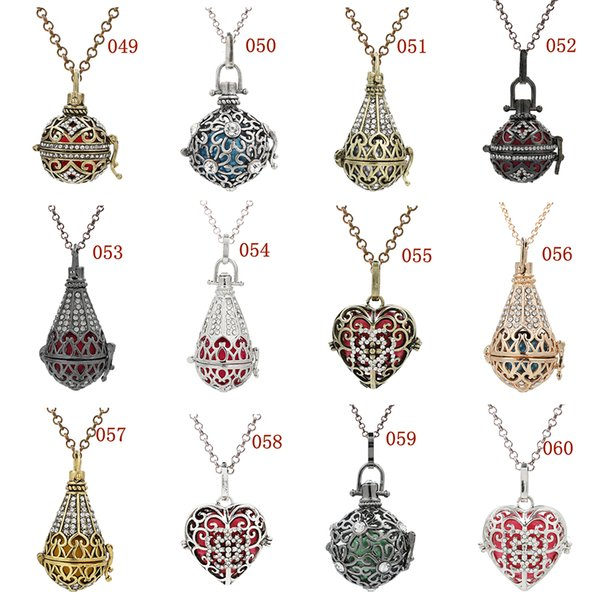 More Designs for Choose Birdcage Love Heart Waterdrop Essential Oil Locket Lave Beads Cage Pnedant Angel Bola Chime Ball Charms Necklace