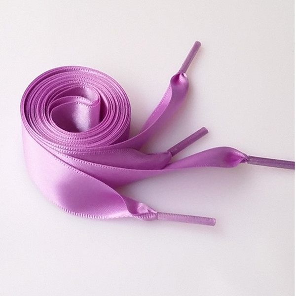 2CM Wide 80cm Length various colors Flat Silks Shoelaces Ribbon Satin Shoe Laces Sport Shoes For Women Men