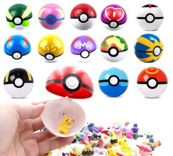 Nuovo arrivo 13 tipi Pikachu balls 7cm Anime Ball con Action Figures ABS Super Master Elf Ball Toys Diversi pokBall Mini Model dhl