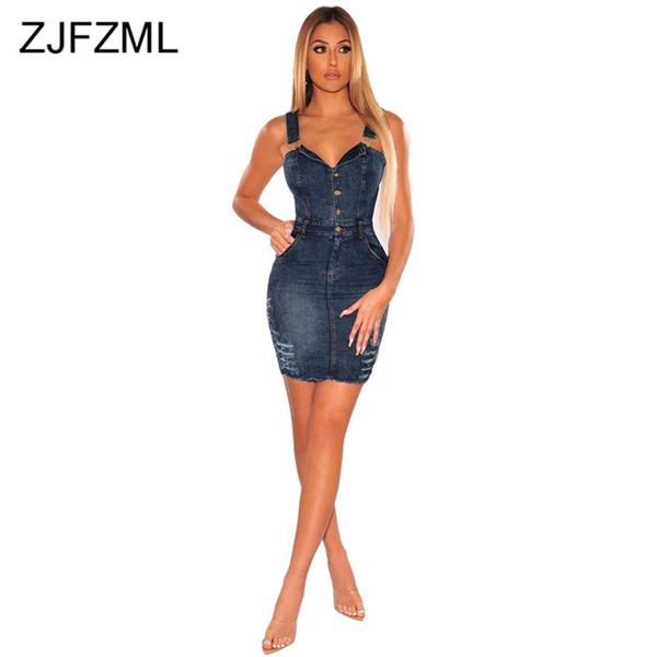 Spaghetti Strap Casual Denim Vestidos Mulheres Botões Up Backless Night Club Vestido de Festa Verão Profundo V Neck Sem Mangas Bainha Vestido
