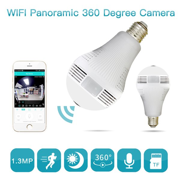 Bombilla de la lámpara cámara IP inalámbrica Wifi 960P panorámica FishEye Inicio cámaras de seguridad del CCTV de 360 grados de visión nocturna Ayuda máxima de 128 GB