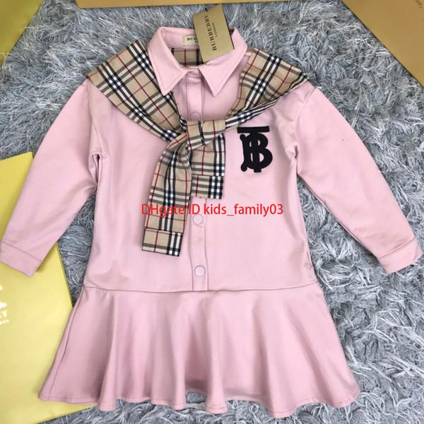 Vestidos infantiles ropa deportiva de diseñador casual niñas clásico chal a cuadros falda de cola de pez con volantes 100-1402019