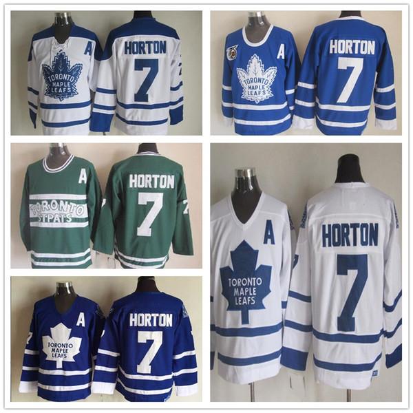 Barato Toronto Maple Leafs 7 Tim Horton Jersey de Hóquei Do Vintage Clássico 75th Aniversário Tim Horton Jersey Bordado Um Remendo S-XXXL