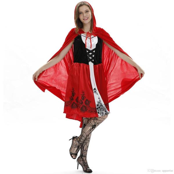Europeus E Americanos Mulheres Sexy Manto Little Red Riding Hood Trajes de Halloween, Role Playing, Fun Uniforme Jogo