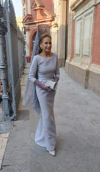 Dusty azul 3/4 mangas madre de la novia vestidos de la envoltura del plisado simple de la cintura Madre de la partido formal del vestido de noche del vestido de novio