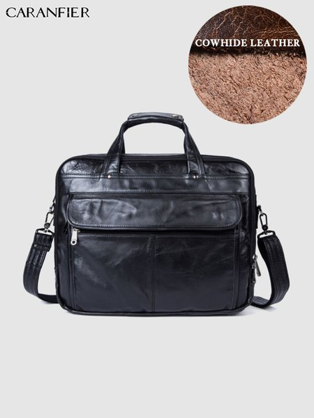 CARANFIER Mens Business Briefcases High Quality Laptop Computer Travel Bags Genuine Cowhide Leather Shoulder Messenger Handbags