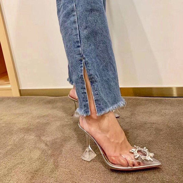 2019 designer transparent crystal high-heeled shoes leather women pump women high heels, pointed toe golden triangle with wedding D3