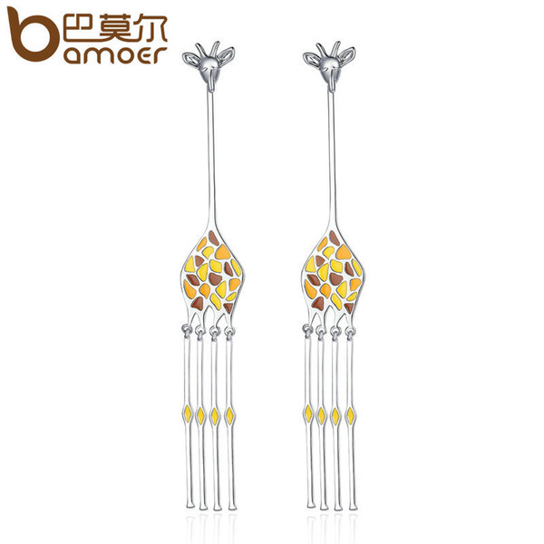 Bamoer Design New Silver Color Hyperbole Cute Giraffe Animal Pendientes largos de gota para las mujeres pendientes de la joyería Yie111 C19041101
