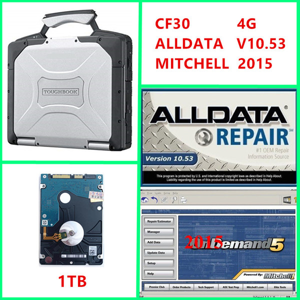2019 newest Alldata v10.53 and Mitchell 2015 Auto Repair 2 in 1 TB hdd Installed on cf30 4GB laptop ready to use