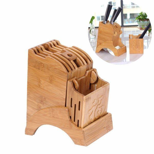 Creative Kitchen Wood Knife Holder For Bacchette Forbici Forbice Storage Rack Bamboo Knife Block Stand Storage