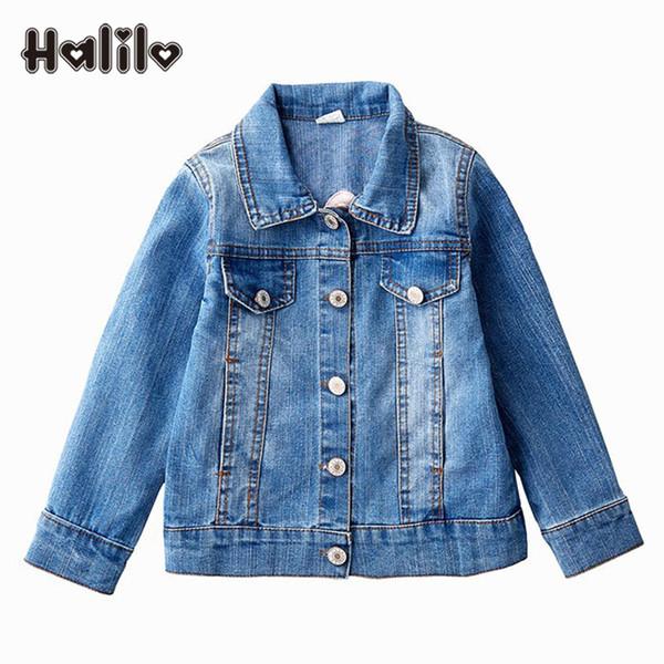 Halilo Kids Chaquetas de otoño Estampado de letras Blue Denim Girls Abrigos de mezclilla Bordado Ropa para niños Escolares Niñas Abrigos y chaquetas