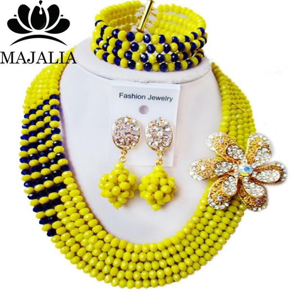modo di trasporto africano dei monili giallo nozze nigeriano africano insieme i monili di cristallo libero Majalia-386