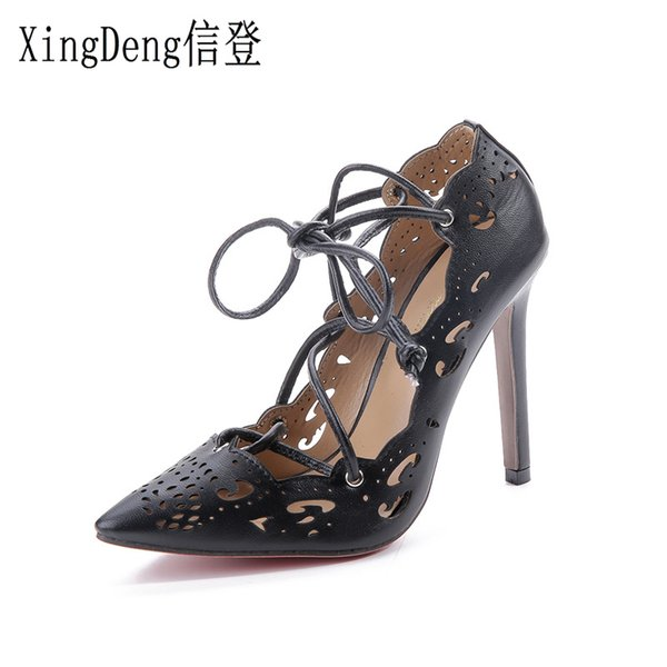 Dress Xingdeng Women Pointed Toe Summer European Bandage High Heels Pumps Shoes Ladies Sexy Party Cross Strap Stiletto Dress Shoes