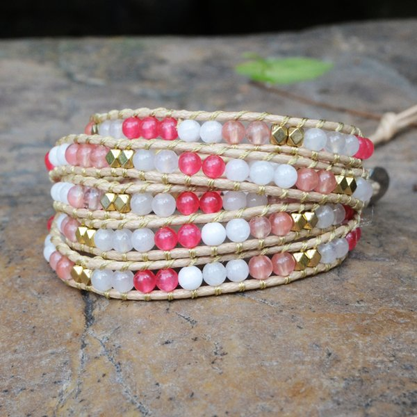 Unique Bohemian Jewelry Cute Pink Beads Girls Gifts Friendship Bracelets Leather Wrap Bracelets Bitherday Gifts Dropshipping