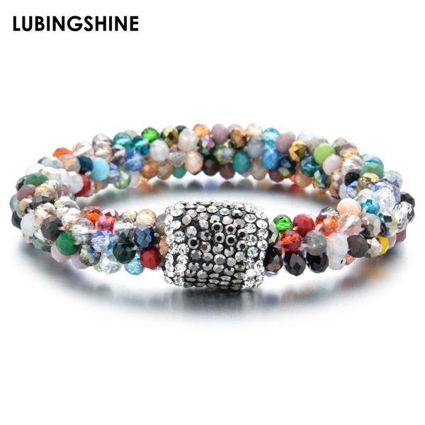crystal strand bead elastic bracelet bangle for women men ceramic clay crystal ball stretch bracelet multicolor annulus jewelry