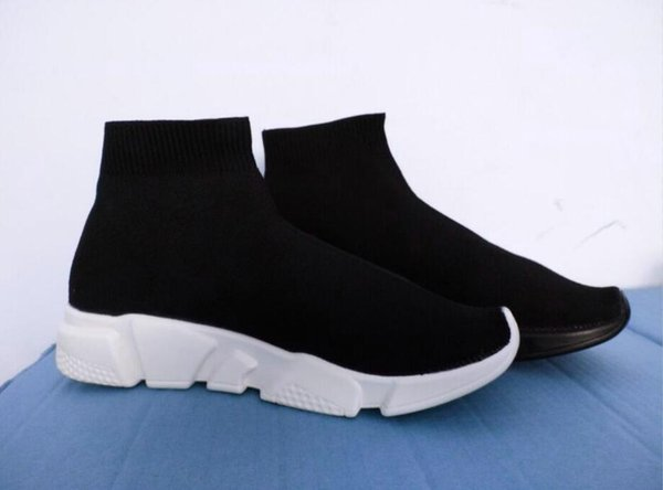 Unisex Casual Shoes Flat Fashion Socks Boots Red Grey Triple Black White Stretch Mesh High Top Sneaker Speed Trainer Runner n01