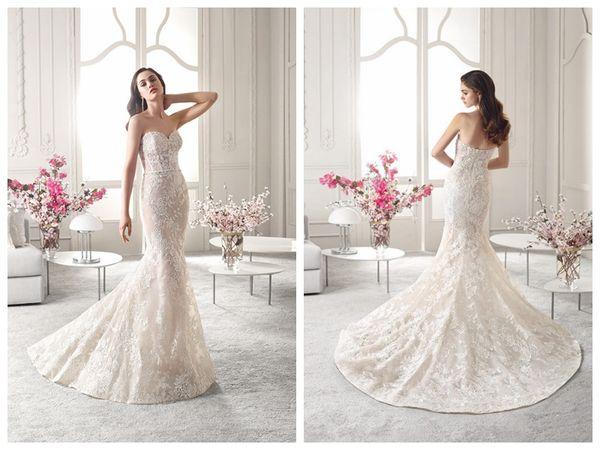 2019 Wedding Dresses robe de mariée Demetrios 826 Ivory Lace Mermaid Wedding Dress Sweetheart Backless Beaded Waistband Applique Custom Ma