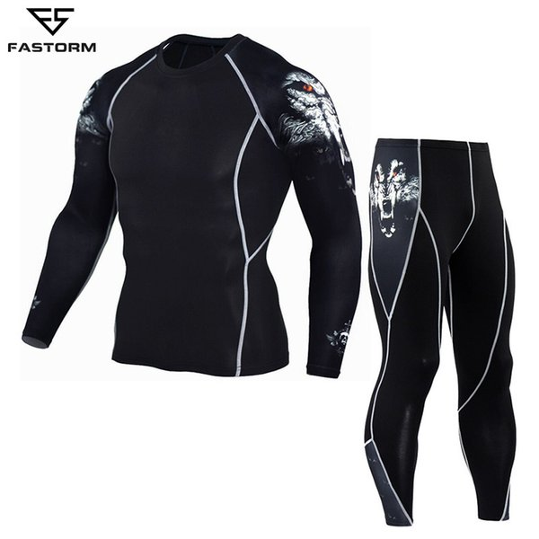 Fastorm Men Tracksuit Compression Running Set Gym Demix Jogging Suits Sportswear Tight Fitness T-shirt Leggings Workout Clothes Q190521