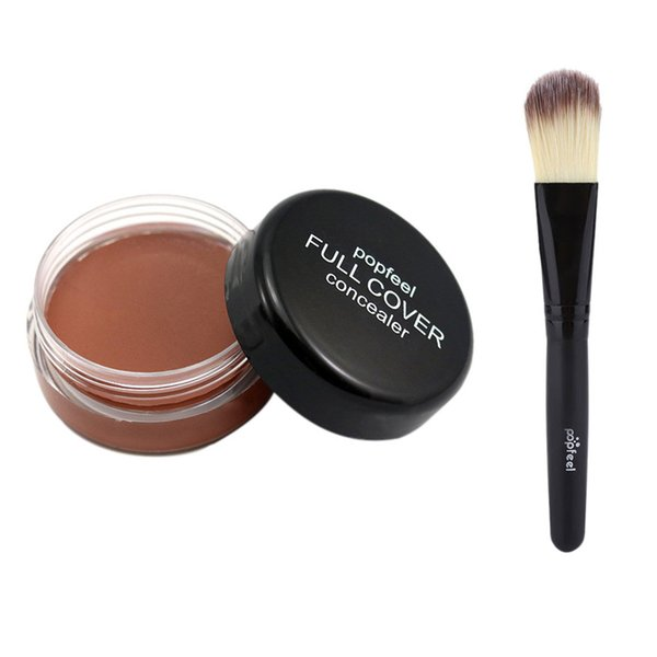 Wholesale DHL Face Concealer Cream 1pc Makeup Base Foundation Nude Face Liquid Cover Freckle Pores Oil Control Natural MakingUp Powder Brush