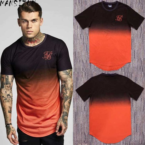 Summer Cotton Silk Siksilk T Shirt Gradient Printed T-shirts Short Sleeves Hip Hop T-shirt Shirts Tops Men Longline Tees With Q190518