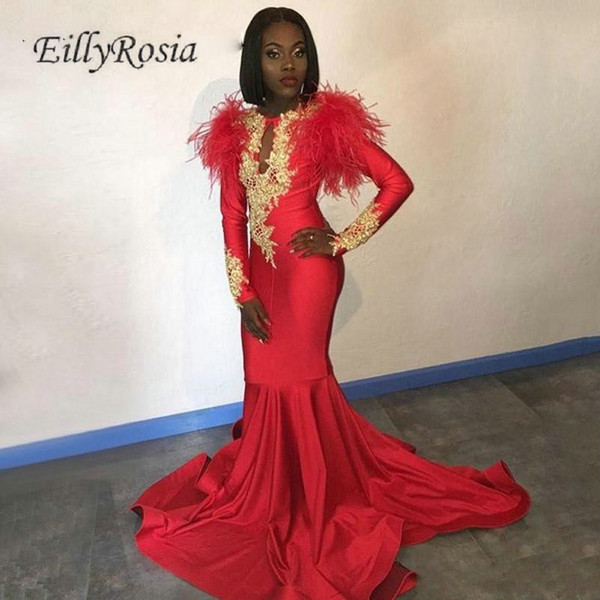 Long Sleeve Red Evening Dresses Formal Gold Appliques Key-hole Neckline Black Girl Mermaid Evening Gowns for Women Feather Robe