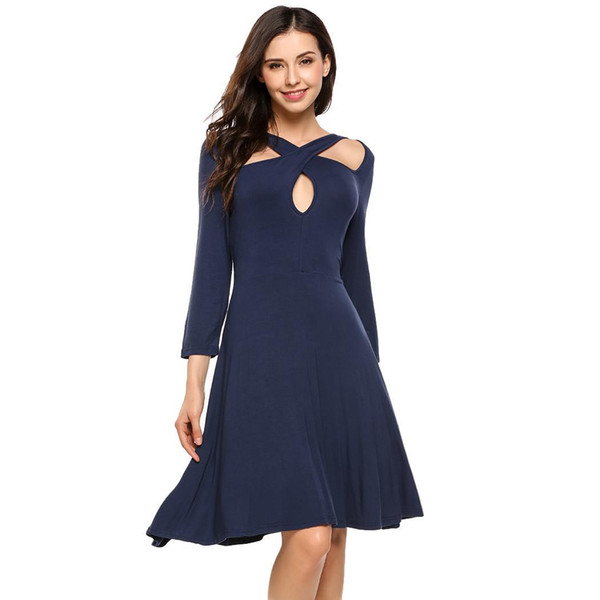 wholesale Cocktail Dresses Women Sexy Dress 3/4 Sleeve Cross Bandage Cut Out Solid Fit and Flare Party Club Dress Ladies