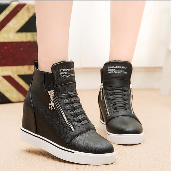 Nueva moda mujer chicas Hot High Top rojo negro blanco zapatos mediados tacón de cuña zapatillas zapatos de cremallera zapatos casuales