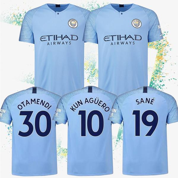 10 maillots KUN AGUERO 17 maillots de football à domicile bleu DE BRUYNE 33 G.JESUS 19 Sane Men costume de football maillots personnalisables