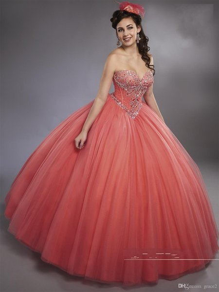 Sleeveless Watermelon Ball Gown Quinceanera Dresses with Detachable Straps Basque Waistline Sweet 15 16 Princess Dresses Custom Made