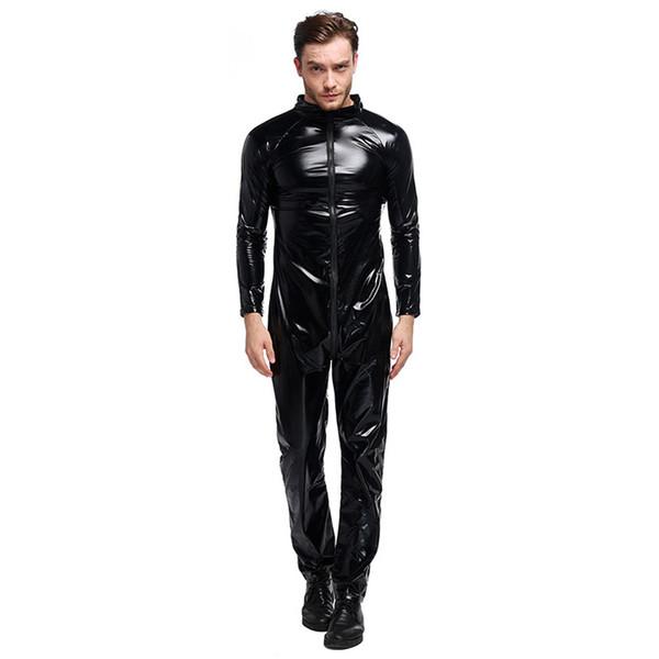 Le plus récent unisexe boîte de nuit Danse Zipper Noir Latex Vêtements stretch Sexy Tight Bodysuit Hommes Faux uniformes en cuir Costumes sexy