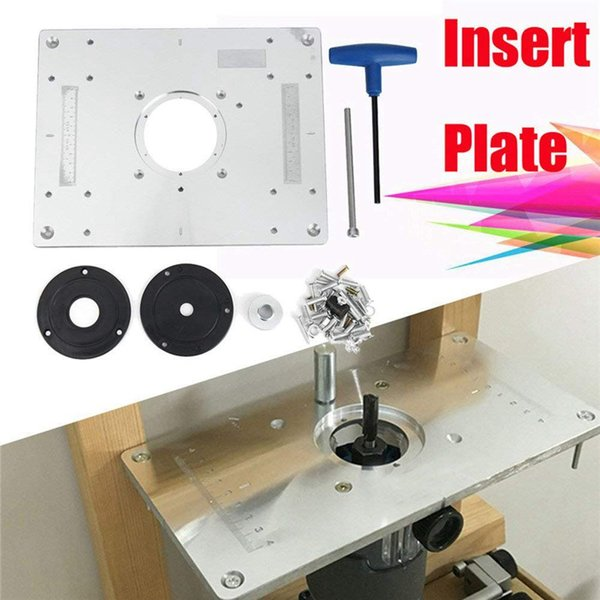 top popular Freeshipping Aluminum alloy Router Table Insert Plate For Popular Router Trimmers Models Engrving Machine DIY Woodworking Benches 2021