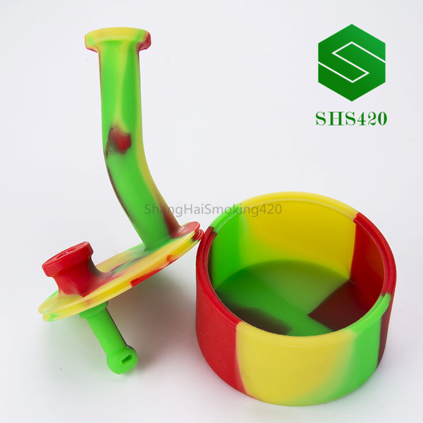 Silicone Water Pipe H=mm125 D=75mm No Accessories Mixed Color Portable Water Pipe Silicon Dab Oil Rig Retail