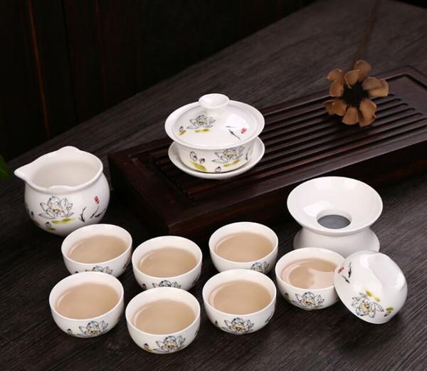 2019 Chinese traditional Tea set gift box ceramic kung fu tea set 8cup 1pot Lotus tang poetry plum