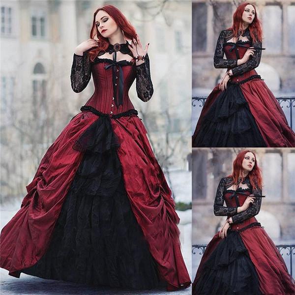 Old Gothic escola vitoriana Halloween Vestido Bola Vintage vestido de gola alta Sheer Lace manga comprida Plus Size Quinceanera vestido de festa