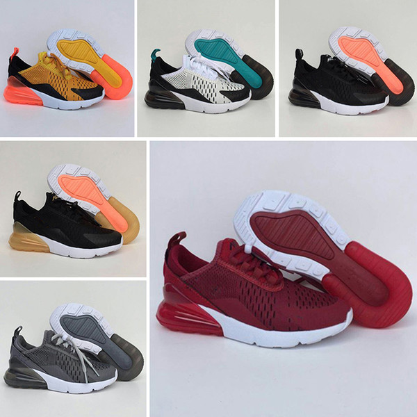 Nike air max 270 Новые Спортивные Светящиеся Осень-Весна Модные Чистые Дышащие Досуг Обувь для Девочек Сетка Обувь Мальчики Бренд Детские Кроссовки Eur 28-35