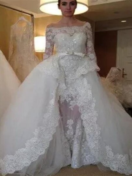 Illusione vintage O collo appliquato perle perline trasparenti indietro abiti da sposa gonfio 2020 nuovo su misura