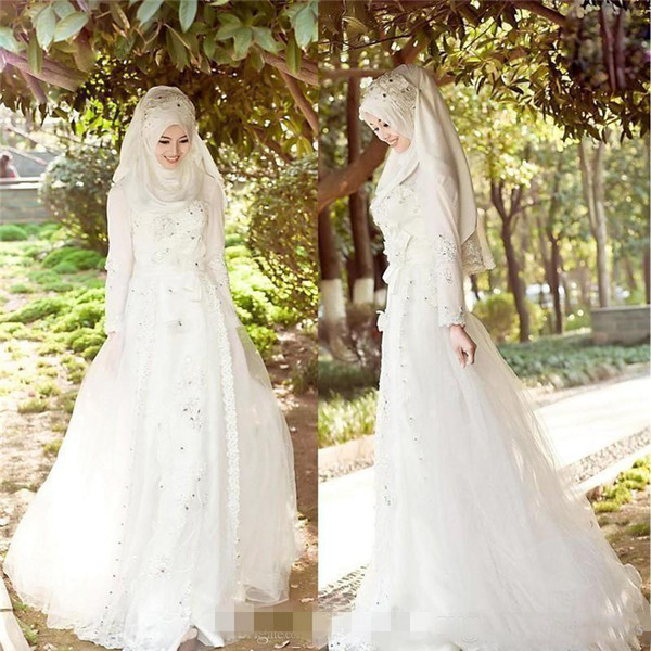Vintage Muslim Wedding Dresses With Sparkly Beads Crystals Hijab Veil Tulle Lace Bridal Gowns Long Sleeves Sweep Train Wedding Bridal Gowns