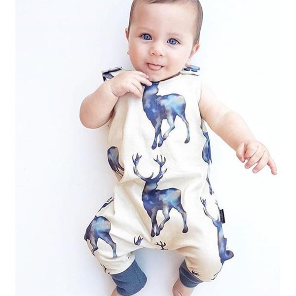 Everweekend Doux Bébé Infantile Enfants Cartoons Cerf Imprimer Vêtements Combi-short Sans Manches D'été Printemps Beau Bébé Nouveau Barboteuses