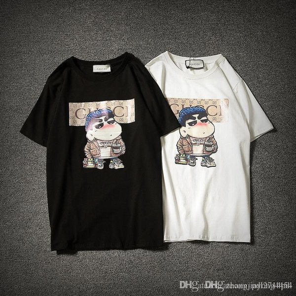 2018 High quality summer ladies T-shirt, cartoon design, casual style.